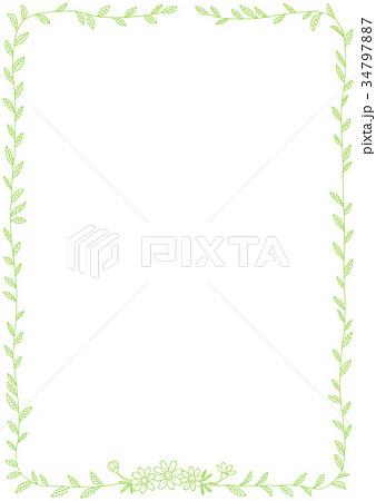 ボールペンで描いた草の葉イラストフレームのイラスト素材 34797887