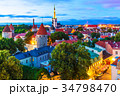 Evening view of the Old Town in Tallinn, Estonia 34798470
