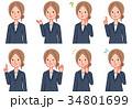 ビジネスウーマン 感情 表情のイラスト 34801699