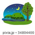 月夜 自然 風景のイラスト 34804400
