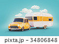 Retro car with white trailer.  34806848