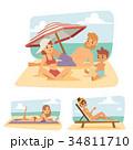 ベクトル ビーチ 浜辺のイラスト 34811710