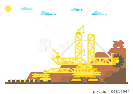 Bucket wheel excavator mining background 34814944
