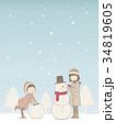 雪遊び 子供 雪だるまのイラスト 34819605