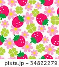 苺と花のシームレスパターン 34822279