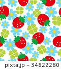 苺と花のシームレスパターン 34822280