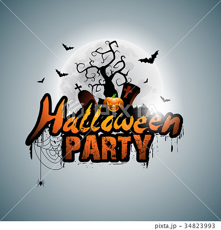 vector halloween party design with typographicのイラスト素材