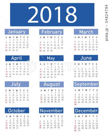 Calendar for 2018 vector illustration 34824794