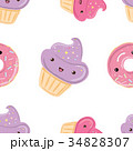 Seamless pattern with sweets - donuts, cupcakes 34828307