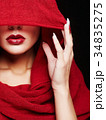 red lips woman under hood 34835275