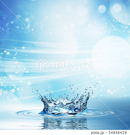 Water splash in dark blue color with a drop of 34836429