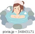 温泉でくつろぐ女性 34843171