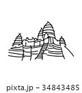 Angkor Wat black line vector illustration  34843485