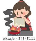 女性 料理 火事のイラスト 34845111
