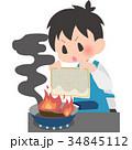 料理 火事 消火のイラスト 34845112