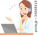女性の栄養士がヘッドセットで会話しているイラスト-上半身 34848419