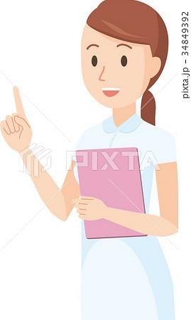 白い制服を着た看護師の女性が指を指しているイラスト 34849392