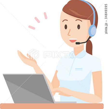 白い制服を着た看護師の女性がヘッドセットで会話しているイラスト 34849395