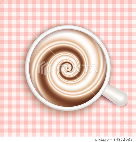 Coffee with milk, full cup, top view, vector. 34852035
