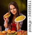 揚げ物 フレンチポテト ハンバーガーの写真 34856811