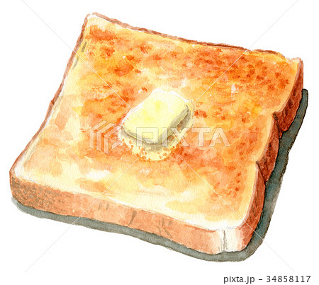 水彩で描いたバタートースト 34858117