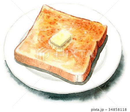 水彩で描いたバタートースト 34858118