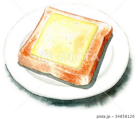 水彩で描いたチーズトースト 34858120