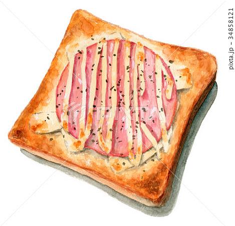 水彩で描いたハムチーズトースト 34858121