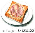 水彩 朝食 ベーカリーのイラスト 34858122