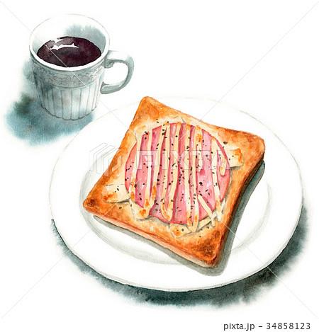 水彩で描いたハムチーズトーストとコーヒー 34858123