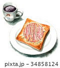 水彩 朝食 ベーカリーのイラスト 34858124