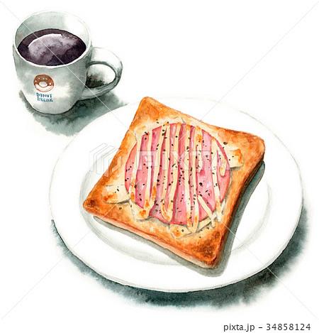 水彩で描いたハムチーズトーストとコーヒー 34858124