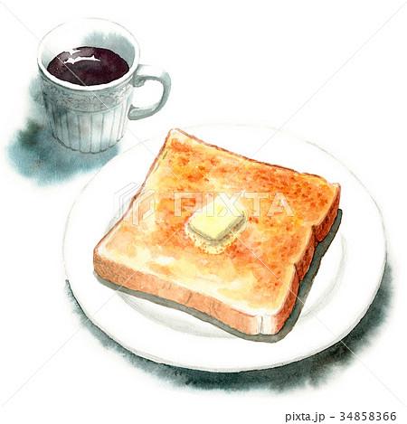 水彩で描いたバタートーストとコーヒー 34858366