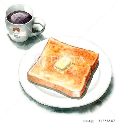 水彩で描いたバタートーストとコーヒー 34858367