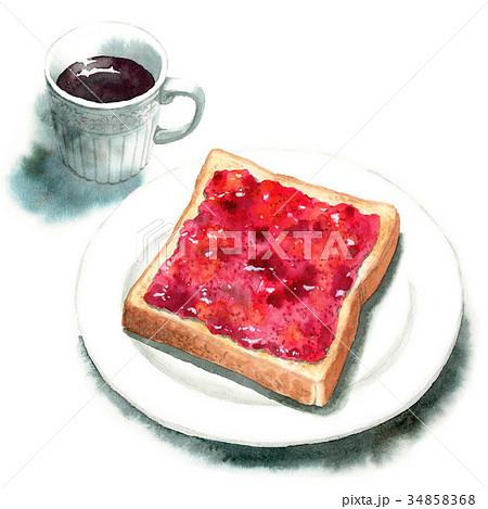 水彩で描いたジャムトーストとコーヒー 34858368