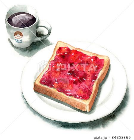 水彩で描いたジャムトーストとコーヒー 34858369