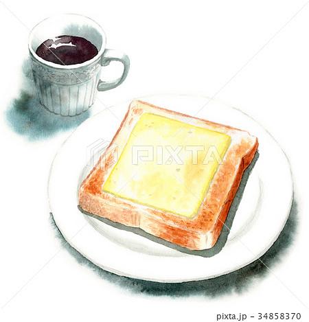 水彩で描いたチーズトーストとコーヒー 34858370