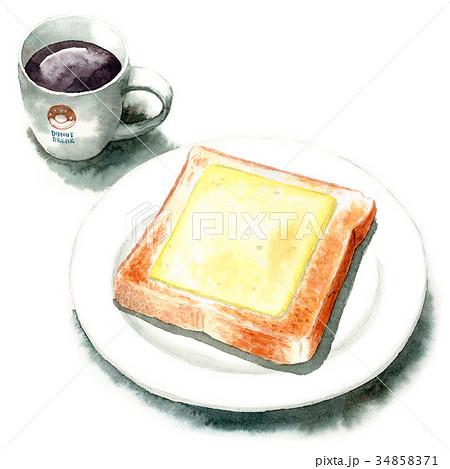 水彩で描いたチーズトーストとコーヒー 34858371