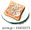 パン 水彩 トーストのイラスト 34858373