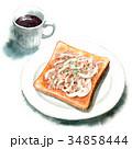 パン 水彩 トーストのイラスト 34858444