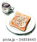 パン 水彩 トーストのイラスト 34858445
