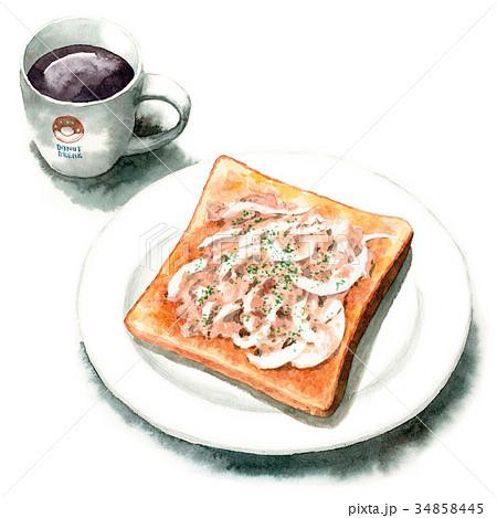 水彩で描いたツナオニオントーストとコーヒー 34858445