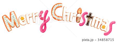 水彩で描いたメリークリスマスの文字クッキー 34858715