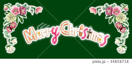 水彩で描いたメリークリスマスの文字クッキー 34858718