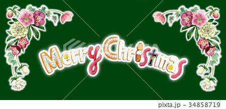 水彩で描いたメリークリスマスの文字クッキー 34858719