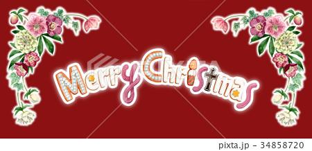 水彩で描いたメリークリスマスの文字クッキー 34858720