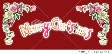 水彩で描いたメリークリスマスの文字クッキー 34858721