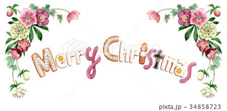 水彩で描いたメリークリスマスの文字クッキー 34858723