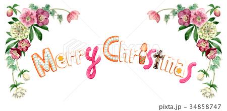 水彩で描いたメリークリスマスの文字クッキー 34858747