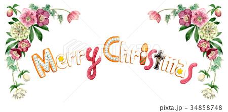 水彩で描いたメリークリスマスの文字クッキー 34858748